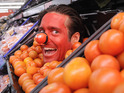 Made in Chelsea star camouflages himself in the tomato crates for Red Nose Day.