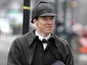 Benedict Cumberbatch and Martin Freeman film in Victorian costume for the Christmas special.