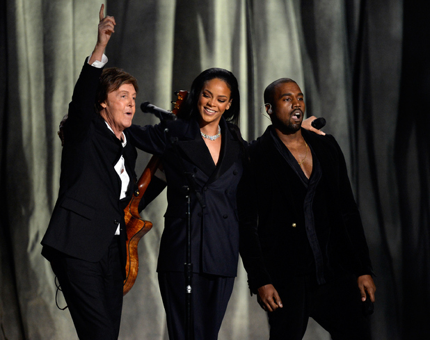 Paul McCartney, Rihanna and Kanye West perform 'FourFiveSeconds' onstage during the Grammy Awards 2015