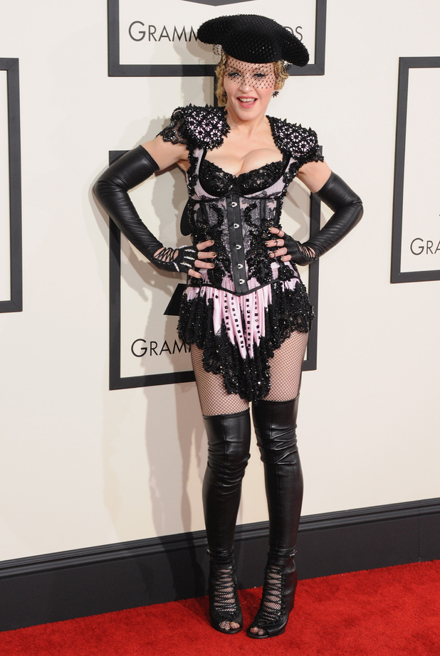 Madonna arriving at the 57th Annual Grammy Awards