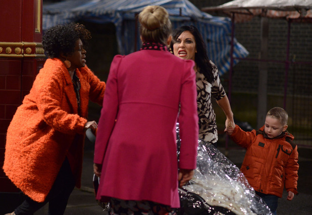 Kat lunges at Linda when she is accused of being a bad mother