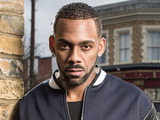 Richard Blackwood in character on the set of EastEnders