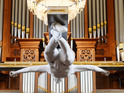 The sculpture is unveiled in a London church as part of a charity exhibition.