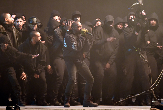 Kanye West performs at the Brit Awards 2015