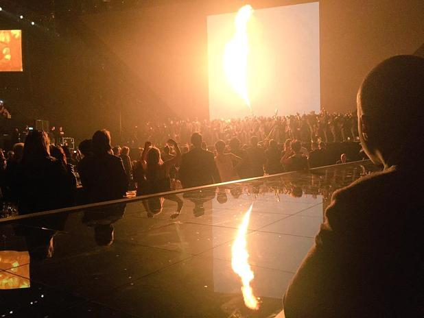 Kanye West performs on stage at the Brit Awards 2015
