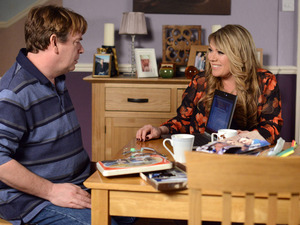Sharon tells a shocked Ian she thinks she might know who her real dad might be