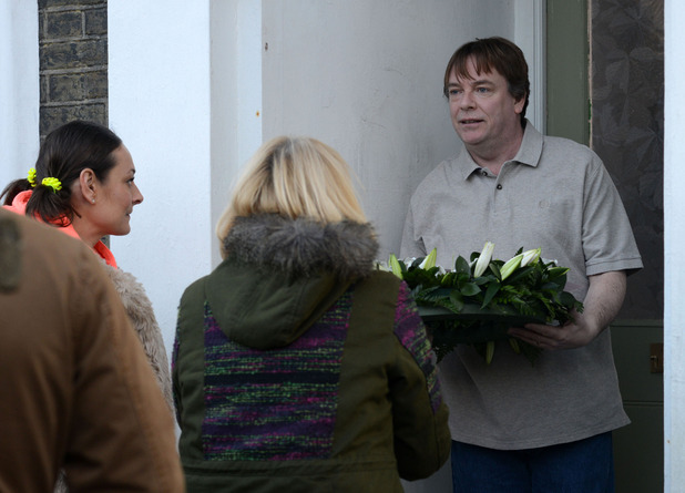 Ian is moved when he is given a wreath in memory of Lucy