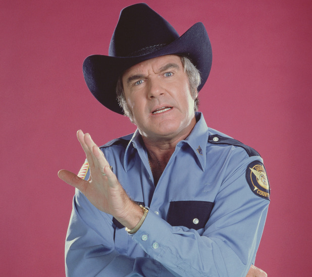 James Best as Sheriff Rosco P. Coltrane in The Dukes of Hazzard