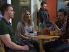 Angela embarrasses Courtney in front of Rhys.