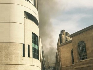 Emma Freud tweets a picture of fire coming from the direction of BBC headquarters