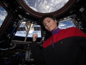 ISS astronaut/Star Trek selfie
