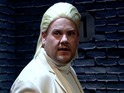 James Corden creates THAT risqué Basic Instinct scene with Michael Douglas.