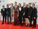 Andy Serkis, Jeremy Renner, Paul Bettany, Chris Hemsworth, Scarlett Johansson, Aaron Taylor Johnson, Chris Evans, Elizabeth Olsen, Robert Downey Jr and Mark Ruffalo attend the European premiere of 'The Avengers: Age Of Ultron'