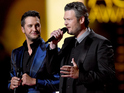 Co-hosts Luke Bryan and Blake Shelton speak onstage during the 50th Academy Of Country Music Awards