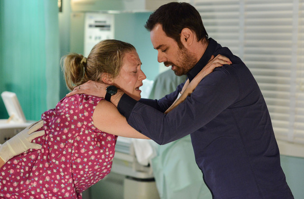 Mick helps as Linda prepares to have her baby