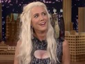 Kristen Wiig looks the part dressed as Khaleesi, but her Game of Thrones knowledge is spotty.