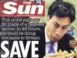 Ed Miliband is mocked on the front cover of The Sun