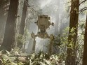 Star Wars Battlefront's playable AT-ST Walker is pictured on Endor's forest moon.