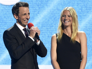 Seth Meyers and Gwyneth Paltrow onstage at NBC's Red Nose Day USA