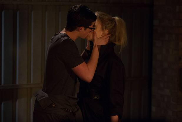 Ben and Abi kiss passionately.