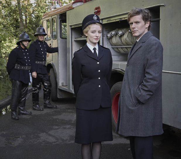 Dakota Blue Richards as WPC Shirley Trewlove and Shaun Evans as Endeavour Morse in Endeavour series 3