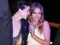 The model turned actress enjoys Cannes bash with Annie Clarke.