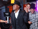 The America's Got Talent host kicked off Red Nose Day USA with the danceathon live from NYC.