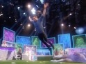 The footballer attempts to leap the furthest on a bouncy penalty box for the ITV game show.