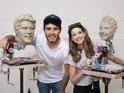 YouTube stars have a look at their Madame Tussauds clay sculptures in Brighton.