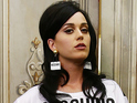 Katy Perry poses backstage at the Moschino show