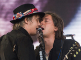 Pete Doherty and Carl Barat of The Libertines perform live on the Pyramid stage at Glastonbury Festival 2015