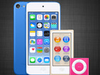 A dark blue iPod Touch, a gold iPod Nano and a hot pink iPod Shuffle pop up on iTunes.