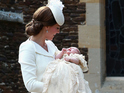 Royal family makes first public appearance at Princess Charlotte's christening.