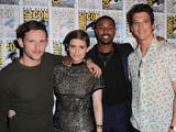 Jamie Bell, Kate Mara, Michael B Jordan, and Miles Teller pose at the 20th Century FOX panel during Comic-Con 2015