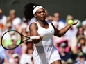Serena Williams takes on Maria Sharapova during Wimbledon 2015