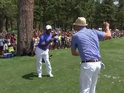 The singer encourages Alfonso Ribeiro to shake off a bad putt by breaking out some of his best moves.