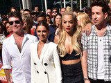 Simon Cowell, Cheryl Fernandez-Versini, Rita Ora, Nick Grimshaw, Caroline Flack and Olly Murs at the X-Factor auditions, London