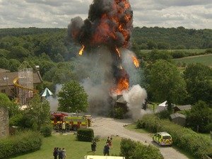 The village hall explodes