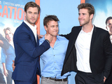 Chris Hemsworth, Luke Hemsworth and Liam Hemsworth arrive at the premiere of Vacation in California