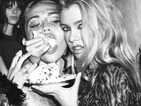 "Topless Miley Cyrus fed cake by rumoured girlfriend Stella Maxwell in new photoshoot: ""This is how we party"""