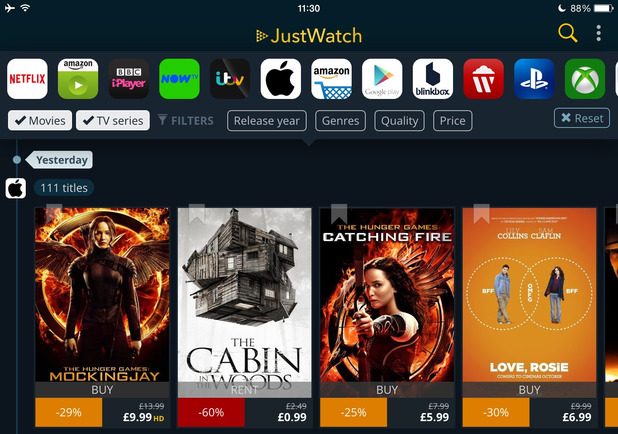 Search Netflix, iPlayer and more with JustWatch