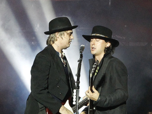 Pete Doherty and Carl Barat of The Libertines perform on Day 3 of The Reading Festival at Richfield Avenue on August 30, 2015 in Reading, England.