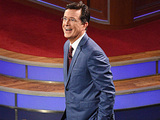 Stephen Colbert during the premiere episode of The Late Show with Stephen Colbert