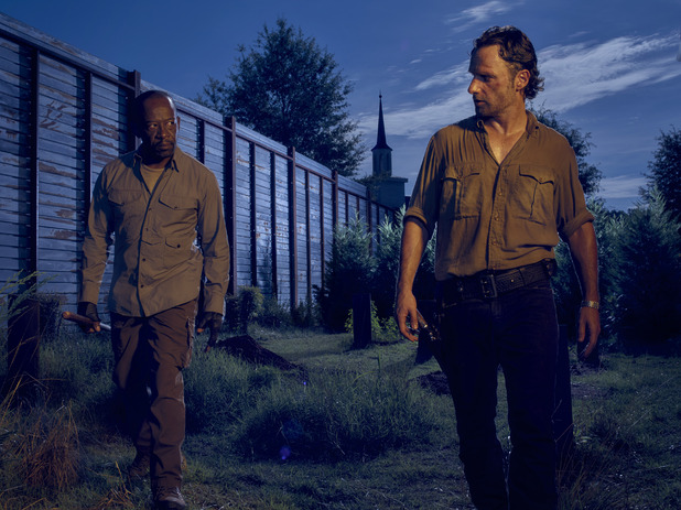 Lennie James as Morgan and Andrew Lincoln as Rick Grimes in The Walking Dead season 6