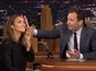 Fallon accidentally spits on Jessica Alba