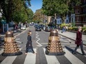 A pair of Daleks fill in for the missing Beatles.