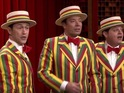 He dons the famous stripy suit, bow tie and matching boater hat in Fallon's Ragtime Gals.